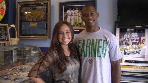 Alexa Carroll with Giants WR Victor Cruz2