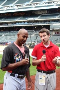 Jon Stanko interviewing Juan Pierre of the Florida Marlins in 2013