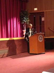 Dr. Johnnetta Cole speaks to the crowd about diversity