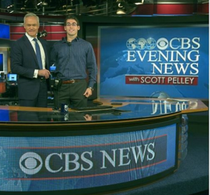 Senior Anthony Carlo with CBS News Anchor Scott Pelley